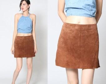 Vintage 90s Suede Leather Mini Skirt