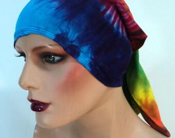 Rainbow tie dye buff, head wrap, hairband, headband, circle scarf in bamboo blend fabric.
