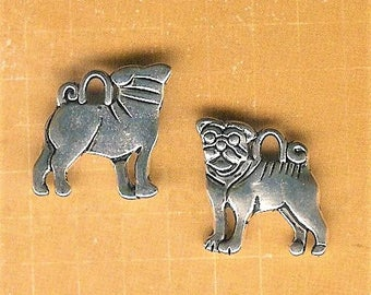 Pug Charm, 4 Pieces, Antique Silver Pug Charm, Pug Dog Charm, Chinese Pug, Buddhist Monk Dog, Men In Black Dog, Curly Tail, Pug Jewelry, Pug
