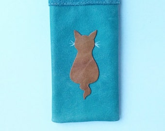 Leather Glasses Case Spectacles Case Holder Sleeve Blue Leather with Ginger Cat Design