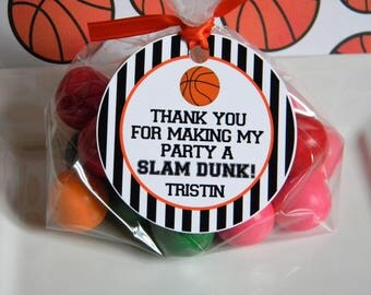 Basketball Birthday Party Personalized Favor Tags, Thank You Tags, Treat Tags, Goody Bags,  Party Favors, Party Decorations, Set of 12