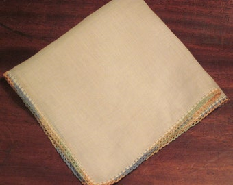 Vintage Rainbow Crochet Handkerchief