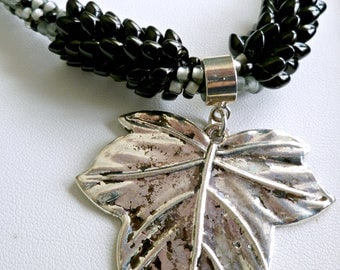 Black silver gray beaded Kumihimo necklace with antiqued silver leaf pendant, magnetic clasp, over the head necklace