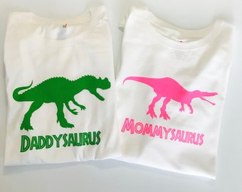 Personalized Daddysaurus and Mommysaurus or Grandpasaurus and Grandmasaurus