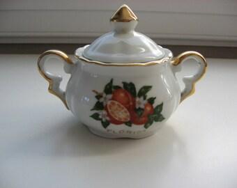 Collectible Vintage Old Florida Souvenir Sugar Bowl//Vintage Souvenir of Florida//Oranges Orange Blossoms