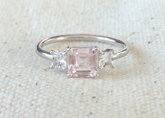 untreated pink sapphire and phenakite set in 14k solid white gold engagement ring