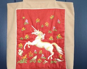 Magical Unicorn Handbag Tote Wood Handles