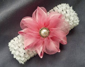 Rosy Pink Flower on White Baby Band