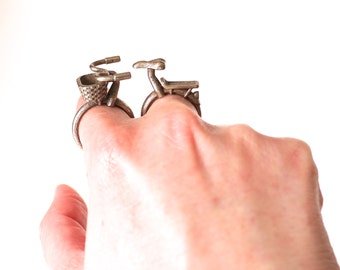bike jewelry - Bicycle Rings in Stainless Steel. 3D printed pair.