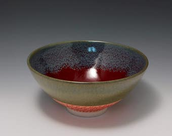 Wheel-thrown Porcelain Bowl with Red, Light Blue and Olive Glaze and Chattering Texture by Hsinchuen Lin