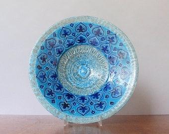 Large Vintage Mid Century Bitossi Rimini Blue / Blu Low Bowl