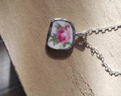 Original Broken China Necklace, Small Red Rose Pendant on Silver Chain, Silver Soldered
