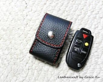 100% hand stitched handmade black cowhide leather car remote key fob / lighter holder/ case with belt loop