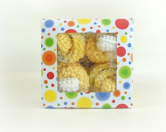 Baby Cupcakes, Washcloth Cupcakes, Four Double Knit Washcloths & Two Sets of Baby Booties in Yellow and White