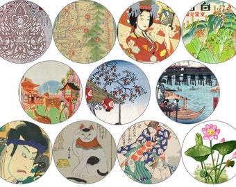 """Japanese Art Circle Digital Download Cabochon, Pendant, 2"""", 50mm, 2 inch, Collage Sheet. Will resize to any size you need."""