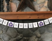 Home Sweet Home Banner - Purple and Gray - Welcome Friends - Housewarming - Open House - New Home Celebration