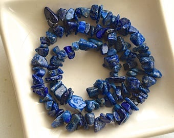 Lapis Lazuli Stone Chip Bead - Jewelry Supplies - 13 Inches Strand