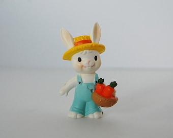 Easter Bunny Figurine, Vintage Plastic Rabbit, Enesco Farmer Bunny Figure