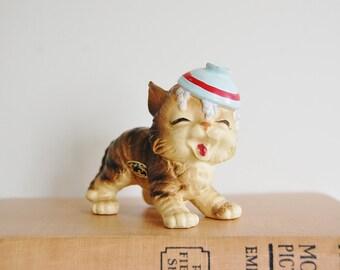 Kitsch Cat Figurine, Josef Originals Porcelain Kitty, Spilled Milk