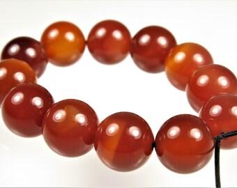 Natural Carnelian Round Bead - 10mm - 12 beads - B6138