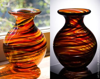 Hand Blown Glass Vase - Bulbous Shape with Hot Tortoise Color Streaks