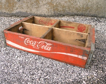Vintage 1971 Coca Cola Crate Mini Wooden Crate Shelf Advertising Beverage Box Shelf  4 compartment soda crate Wood Storage Plant Holder