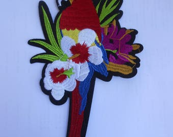 Parrot Iron on Embroidered Large Applique