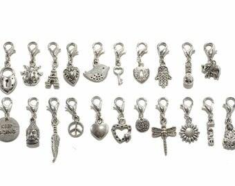 Charms Metal Bracelet Pendants Assorted 21 pcs
