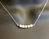 Gold and Silver Cubes Necklace - Sterling Silver - Unique Asymmetrical Necklace - Two Tone Modern Layer Necklace