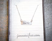 Myers Briggs Necklace - MBTI Personality Test Necklace - Personalized Sterling Silver Bar Necklace - Name Plate Necklace - Silver Tag