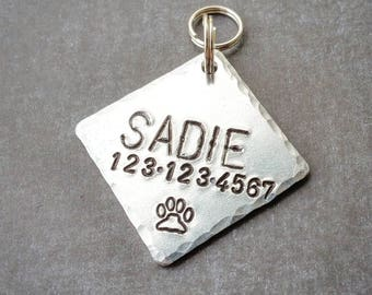 Dog Tags for Dogs, Dog ID Tag, Dog Name Tag, Dog Tag, Engraved Dog Tag, Custom Pet Tag, Personalized Pet Tag, Diamond Dog Tag, Square Dogtag