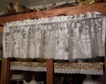 "Pretty Spring 56.5"" Wide Vintage Off-White Floral Lace Valance with Tulips, Ivy and Watering Cans 15.5"" Long"