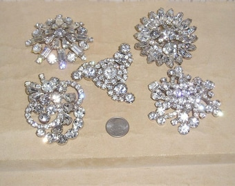 5 Vintage Crystal Rhinestone Brooches 1940's- 50's Priced To Sell Jewelry Lot 11010