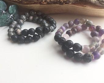 Handmade gemstone black lava oil diffuser bracelets
