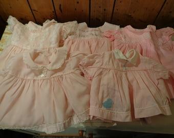 Vintage Lot 5 Pink Baby Dresses