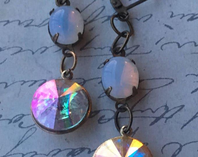 Earrings for Women, Swarovski Earrings, Crystal Earrings, Aurora Borealis Earrings, Vintage Jewelry
