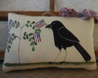 Primitive Patriotic Handpainted Folk Art Crow & Flag Tree Wall Hanging Pillow Tuck