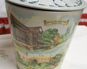 Vintage English Tin Storage Container English Sights Castles Made in England