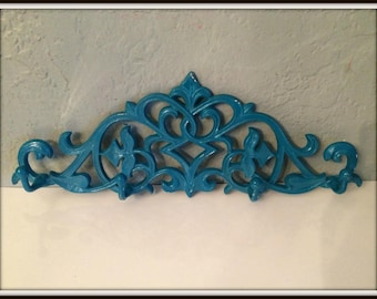 Upcycled Coat Rack ~ Shabby Chic ~ Distressed ~ Heavy Cast Iron Ornate Coat Rack ~ Necklace Rack ~ Purse Hanger ~ Entry Way Wall Decor