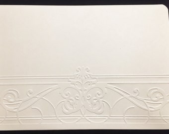 "Set of (4) Four 6.75"" x 4.75"" Greeting Card Face Front Layer Embossed Solidcore, 65 lb. Cardstock, Pick a Color"