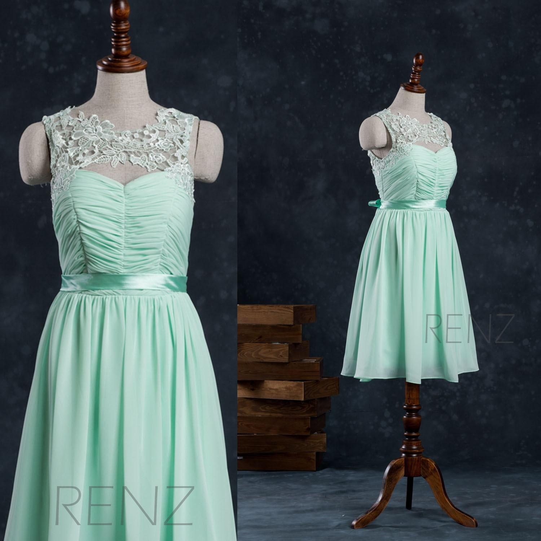 2017 Mint Chiffon Bridesmaid Dress Illusion Lace neck Short