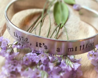 Friendship Quote Bracelet, Hand Stamped Cuff Bracelet, Custom Stamped Message Jewerly, Gift for Friend