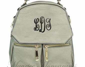 Personalized Pewter Small Synthetic Leather Backpack Purse FREE Monogram