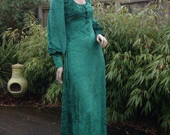 VELVET CAVE 1970s style repro velvet balloon sleeved medieval maxi dress uk 6 8 xs s