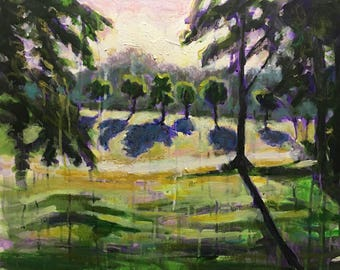 "Original Acrylic Landscape Expressionist Painting 16x20 ""Mornin!"""