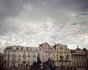 Prague Photo, Prague Print, Prague Canvas, Old Town Square photo, Old Town Square Prague Bubbles, Prague Square Photo, oversize art