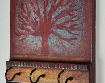 Red Tree Key Holder