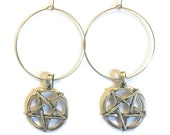 Hoop Earrings for tunnels and eyelets - Pentagram hoop earrings, earrings for stretched ears