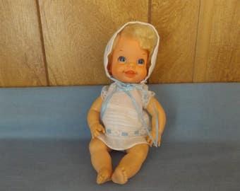 Vintage Vinyl Bouncing Baby Go Bye Bye Doll / Blonde Hair / Mattel 68