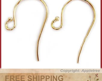 14K Solid Yellow Gold Earwires with Bead Tip - DIY Earrings - French Ear Hooks 14KT Earwire